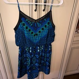 Blue and green geometric dress
